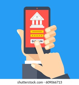 Mobile banking app on smartphone screen. Financial app, online banking, login page concepts. Hand holding smartphone, finger touching screen. Modern flat design graphic elements. Vector illustration.