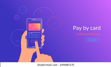 Mobile banking app and payment by credit card via electronic wallet wirelessly and easy. Bright vector illustration of online mobile paying by phone and connected credit card