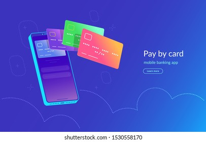 Mobile banking app and payment by credit card via electronic wallet wirelessly and easy. Bright vector illustration of various bank cards flying out of the smartphone screen for online mobile payment