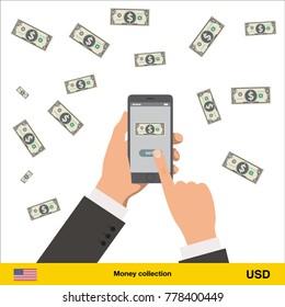 Mobile banking concept. Dollar banknote. Transferring Money vector illustration