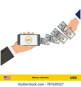 Mobile banking concept. Dollar banknote. Transferring Money vector illustration