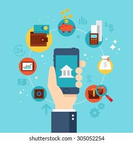 Mobile banking concept. Flat stylish icon design