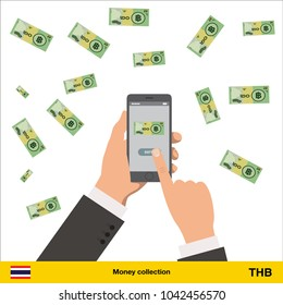 Mobile banking concept.  Thai baht banknote. Transferring Money vector illustration