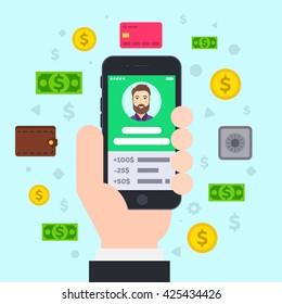 Mobile Banking. Flat vector illustration.