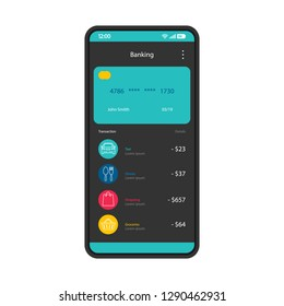 Mobile banking interface vector template. Online payment. Smartphone app page black design layout. Credit card transaction. E-payment screen. Flat UI for application. Phone display payment options