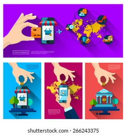 Mobile banking. leisure, Icons shop online, business icons flat design. App icons, web ideas network page, virtual shopping, credit card,