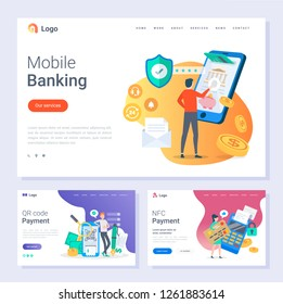 Mobile banking NFC payment and Qr codes scanning vector. Online web pages with text and people using smartphones to pay in stores technology innovation, flat style