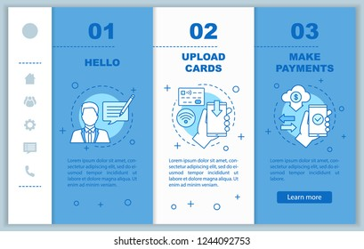 Mobile banking onboarding mobile web pages vector template. Support chat, credit cards uploading, making payments. Responsive smartphone website interface. Webpage walkthrough screens. Color concept