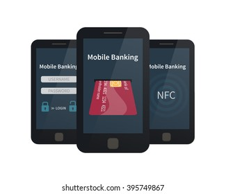Mobile banking, online payments. Flat vector illustration