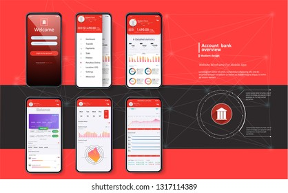 Mobile banking. Template for mobile app in red fashion design. Mobile UI Kit for responsive mobile app with different GUI layout including Login, Profile. Mockup vector
