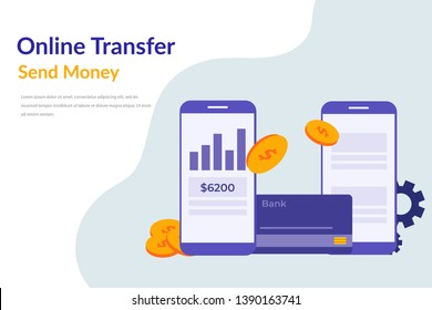 mobile banking transactions concept. Mobile transfer payments vector illustration concept for web landing page template, banner, flyer and presentation