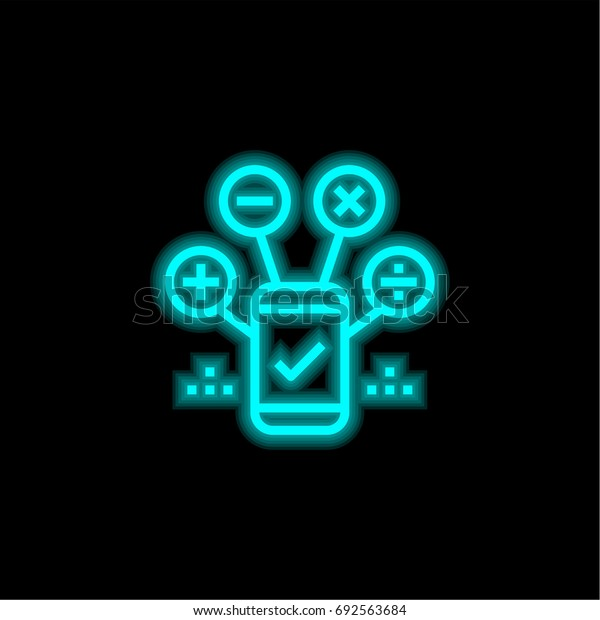Mobile blue glowing neon ui ux icon. Glowing sign logo vector