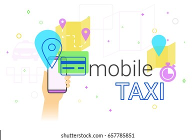 Mobile booking taxi cab on smartphone concept illustration. Human hand holds smart phone with app for ordering taxi vehicle, choosing route and pay by credit card. Creative e-commerce banner
