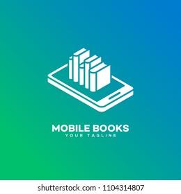 Mobile books logo design template. Vector illustration.