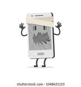 Mobile with broken screen. Flat design, vector illustration.