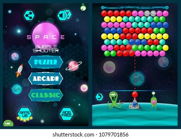 Mobile Bubble Shooter Game Screen. Full Game ( Main Menu Screen and Bubble Shooter Game Screen) Colorful Cartoon User Interface Design GUI UI. Vector illustration. Mobile Game Interface GUI, UI.
