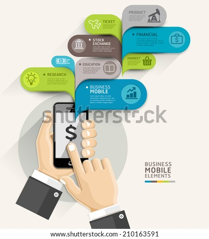 mobile business bubble speech template style のベクター画像素材