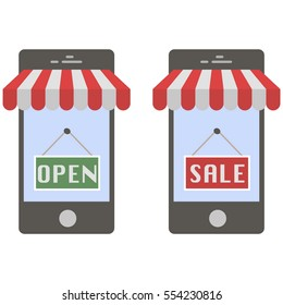 Mobile buying. Flat design. E-commerce flat design concept. Using mobile smart phone for online purchasing.