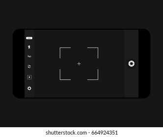 mobile camera interface template background. Screen of smartphone with camera interface. viewfinder display. Vector illustration Modern camera focusing screen