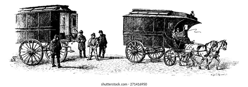 Mobile cars, vintage engraved illustration. Paris - Auguste VITU �¢?? 1890.