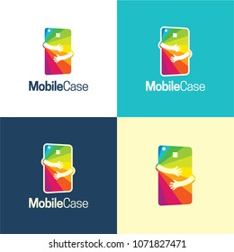 Mobile Case Logo and Icon. Vector Illustration. A vibrant logo featuring a colorful mobile phone and two hands hugging it expressing protection and repairing.