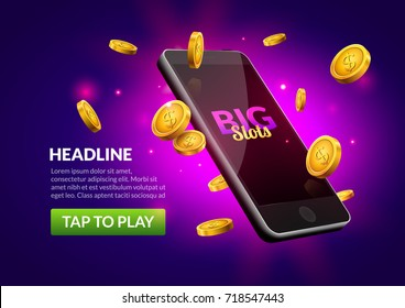 Mobile casino slot game. Flying phone marketing background for casino jackpot slots machine.