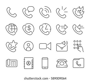 Mobile and cell phone line icon set. Included the icons as call, address book, voice mail, ringing, international, roaming and more.