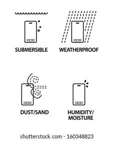 Mobile / cellular phone milspec icons. Submersible, weatherproof, dust/sand resistant, humidity/moisture resistant.