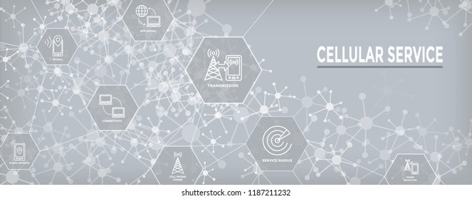 Mobile Cellular Service Web Header Banner with Cellphone Towers & Service area