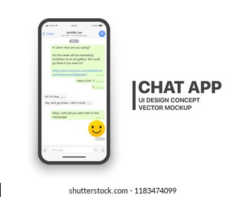 Mobile Chat App UI and UX Concept Vector Mockup in Minimalist Classic Light Theme on Smart Phone Screen Isolated on White Background. Social Network Design Template
