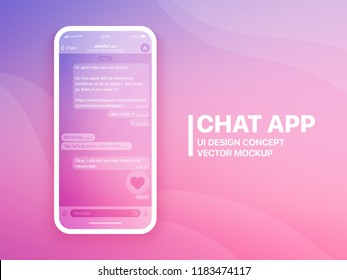 Mobile Chat App UI and UX Concept Vector Mockup in Minimalist Color Flow Limpid Theme on Smart Phone Screen. Social Network Design Template