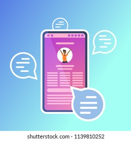 mobile chat bubble application speech text message online communication app interface messenger concept for design work and animation flat vector illustration
