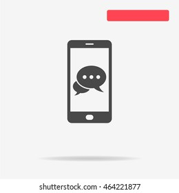 Mobile chat icon. Vector concept illustration for design.