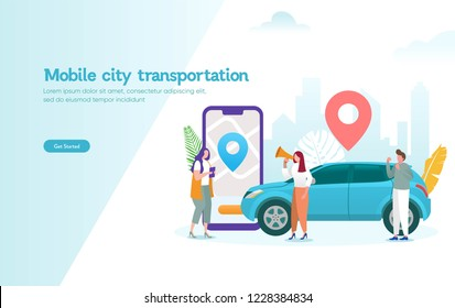 mobile city transportation vector illustration concept,  Online car sharing \n with cartoon character and smartphone, \ncan use for, landing page, template, ui, web, mobile app, poster, banner, flyer