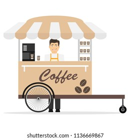 Mobile coffee trolley. Mobile coffee trolley with the seller. Flat design, vector illustration, vector.