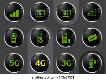 Mobile connecttion vector icons for user interface design