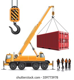 Mobile crane with container isolated on white. Vector illustration