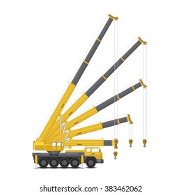 Mobile crane vector isolated and separate  layer for vary angle to use. That is a lifting equipment use in heavy industry such as construction, transportation, erection etc. Included hoist lifting.