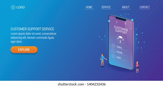 Mobile customer support system, Customer support app, Chat bot technology, 3D, isometric vector conceptual illustration