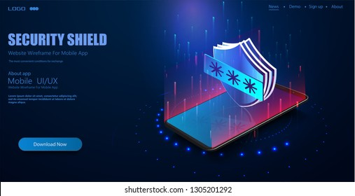 Mobile data security isometric vector illustration. Smart app protects smart phone from thefts and hacker attacks. Adlock security lock concept, futuristic electronic technology background
