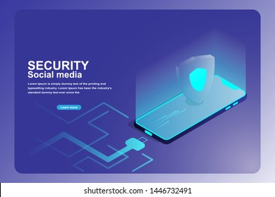 Mobile data security protection landing page. Isometric 3d of smart phone with guard shield isolated on futuristic charging cable blue background.