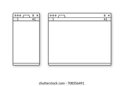 Mobile and desktop browser mockup vector set