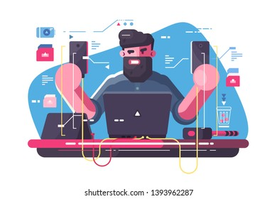 Mobile developer at workplace vector illustration. Angry bearded man holding new smartphones and testing its work fla style concept. Modern cellphone technologies