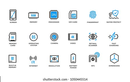 Mobile Device Components Vector Icon Set. Smartphone and tablet icons. Screen, memory, fingerprint