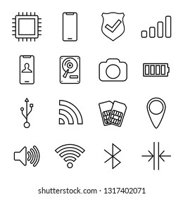 Mobile Device Components Vector line Icon Set
