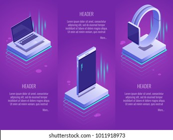 Mobile device landing page concepts.Set of 3 vector header template such as phone,laptop,watches.Vector isometric illustration on a purple gradient background