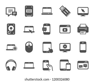 Mobile Devices icons. Set of Laptop, Tablet PC and Smartphone signs. HDD, SSD and Flash drives. Headphones, Printer devices and Mouse icons. Chat speech bubbles. Quality design element. Classic style