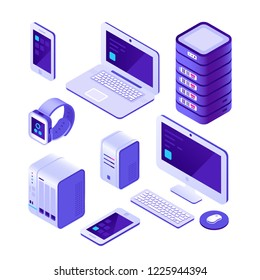 Mobile devices isometric set. computer, server and laptop, smartphone touchpad screen. Cloud database system communication wireless internet technology vector 3d isolated icons collection