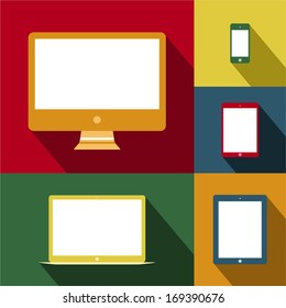 Mobile devices and screens in vintage style