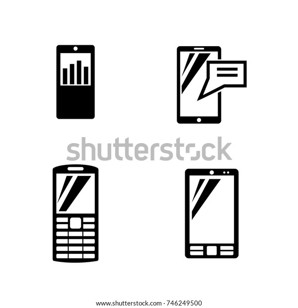 Mobile devices. Simple Related Vector Icons Set for Video, Mobile Apps, Web Sites, Print Projects and Your Design. Black Flat Illustration on White Background.